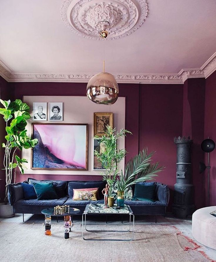 30 Cute Living Room With Purple Color Schemes Design Ideas
