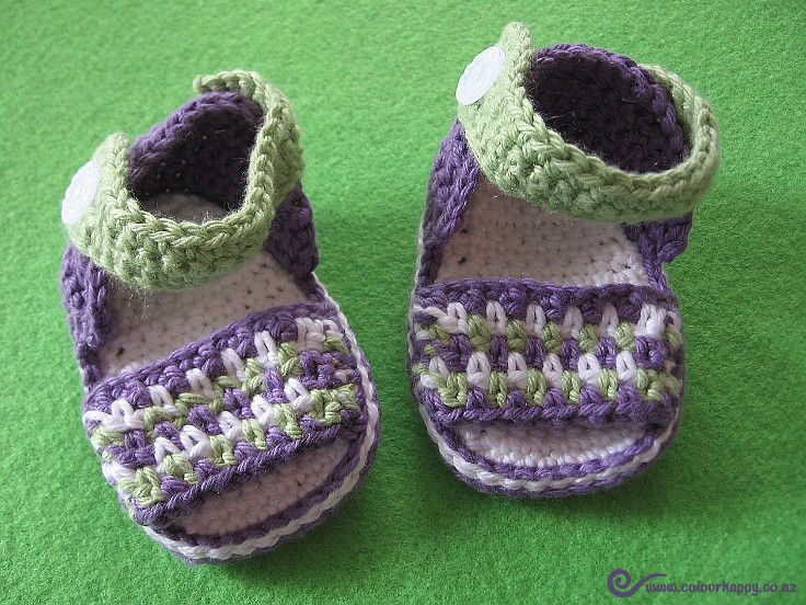 Purple & Green Crochet Baby Sandals ♥Made by Colour Happy / Adele, pattern by Vita Apala