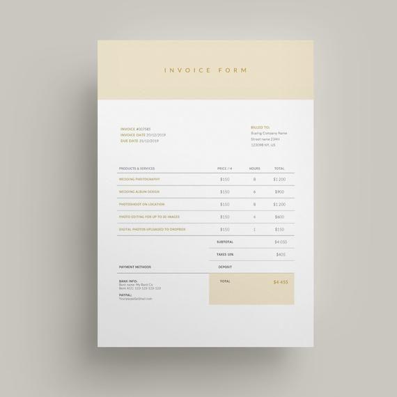 Invoice Template Business Invoice Receipt Template Etsy Photography Invoice Template Invoice Template Invoice Design