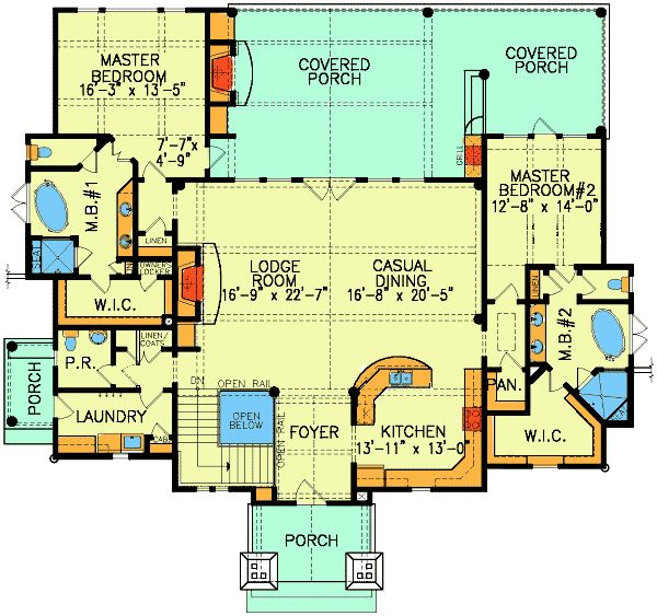 44 best dual master suites house plans images on pinterest for 1 level house plans with 2 master suites