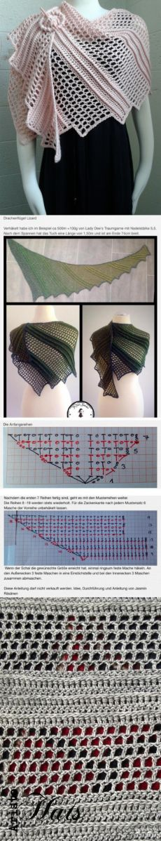 Crochet Shawl & quot; Lizard & quot; by Jasmin Räsänen
