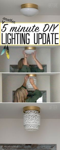 Try this 5-minute, NO TOOLS needed boob light makeover using a lantern. Amazing way to update that dated flush mount ceiling lighting