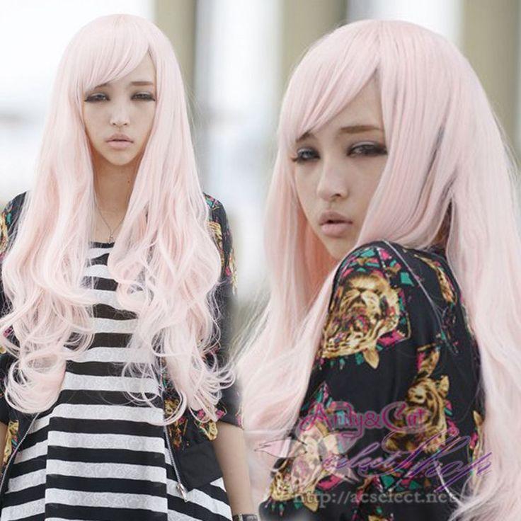 ウィッグ・かつら・耐熱・なみなみロングウィッグ・フルウィッグ・新型wig・桜色・ロングウェーブ・コスプレ・ナチュラルスタイルが魅力 JF046