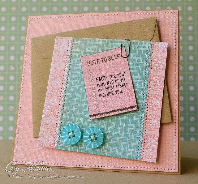 Note to Self by Lucy Abrams, via Flickr: Stamps Cards, Cards Ideas, Cards Kits, Creative Cards, Birthday Cards, Blue Combos, Cas Cards, Lucy Cards, Cards Lucy