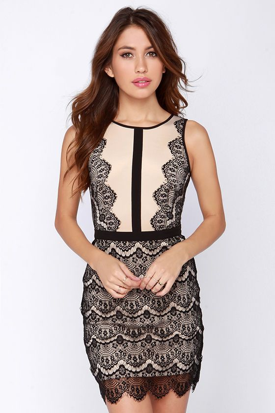 The Act the Part Beige and Black Bodycon Lace Dress has classic style and elegant versatility! This cute, perfect for any occasion, knit dress has a rounded neckline topping a sleeveless and darted beige bodice trimmed in black eyelash lace. A ribbon of black woven material splits the bodice, and meets the fitted waistline above a bodycon skirt covered in ornate scalloped lace, ending with an eyelash hem. Hidden back zipper. Unlined. 93% Polyester, 7% Spandex. Hand Wash Cold.