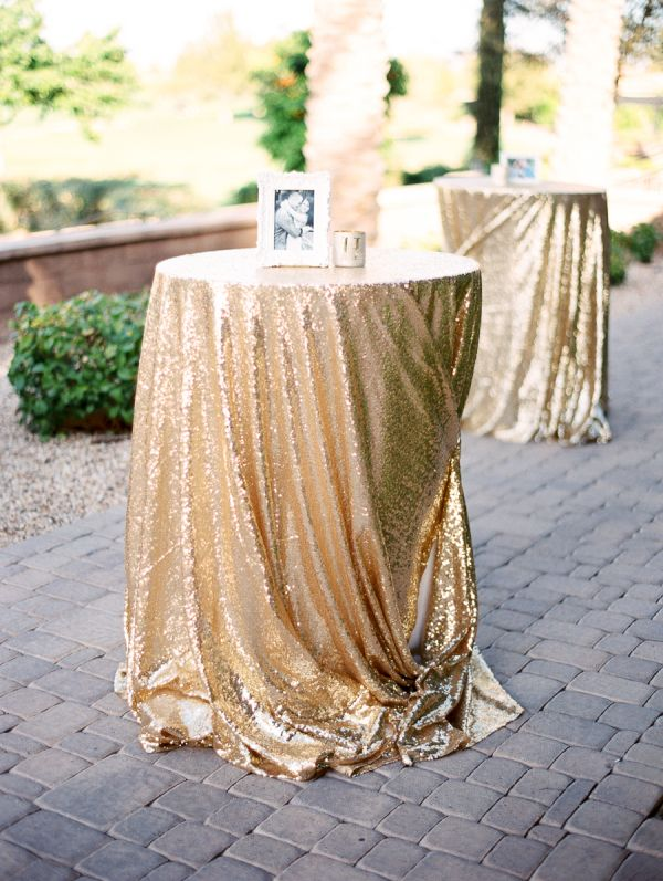 Gold Sequin Wedding Linen | photography by http://rachel-solomon.com