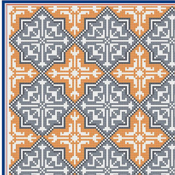 Moroccan tile pattern - PDF file - cushion cover - cross stitch - needlepoint - tapestry