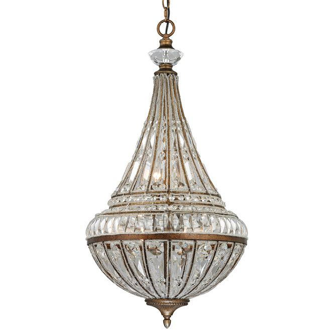 French Empire Tapered Crystal Pendant mocha