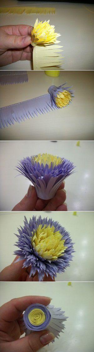 Мастер-класс «Астра и хризантема из бумаги для принтера». Автор Татьяна Коношенко. | Своими руками