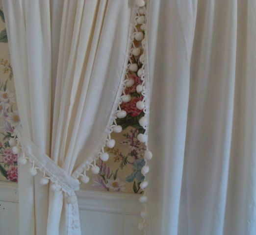 2 Panels Of Vintage Ivory Pom Pom Curtain Panels And