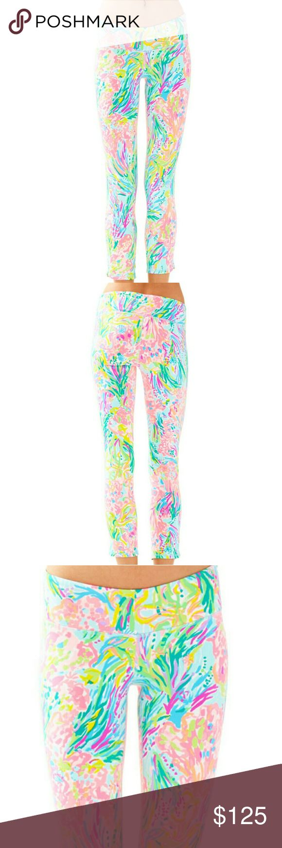 NWT LILLY PULITZER LUXLETIC CROPPED LEGGINGS L New with tags Too big for me that's why I'm selling them Way brighter in person than the stock pics ! Size large Multi fan sea print Cropped PRICE IS FIRM  PRICE IS FIRM  NO TRADES Lilly Pulitzer Pants Leggings