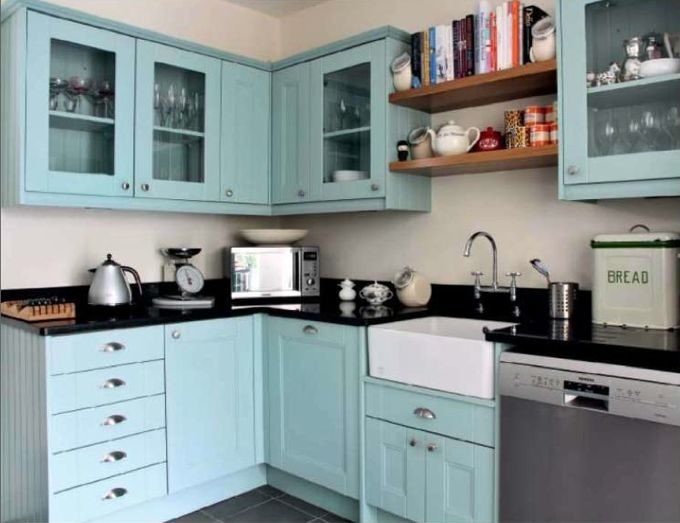 another turquoise kitchen with farmhouse sink and dark countertops - Turquoise Kitchen Decor