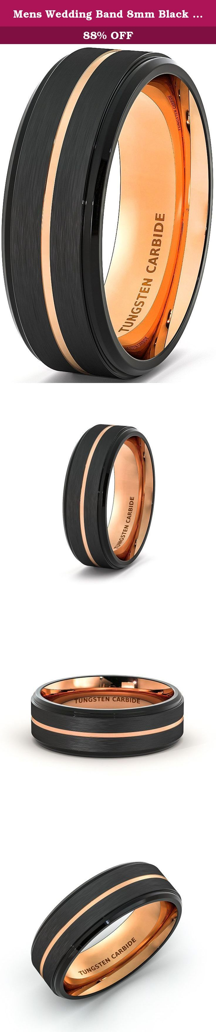 Mens Wedding Band 8mm Black Brushed Tungsten Ring Thin Rose Gold Groove Step Edge Comfort Fit (9.5). Width: 8mm Fit: Comfort Fit Thickness: 2.3mm, Weight: Approximately 12-17g depend on sizes, Surface: Brushed Edge: Step Edge, Color: Black and Rose Gold.