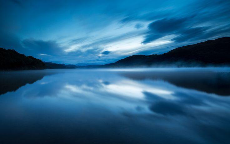 Vereinigtes Königreich, England, Naturpark, See, Abend, Wasser, Nebel, blau…