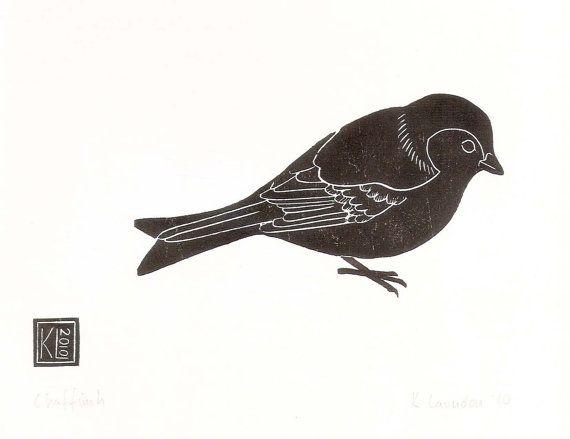 Chaffinch - woodcut print 2010 - Kate Laundon, Scotland U.K.