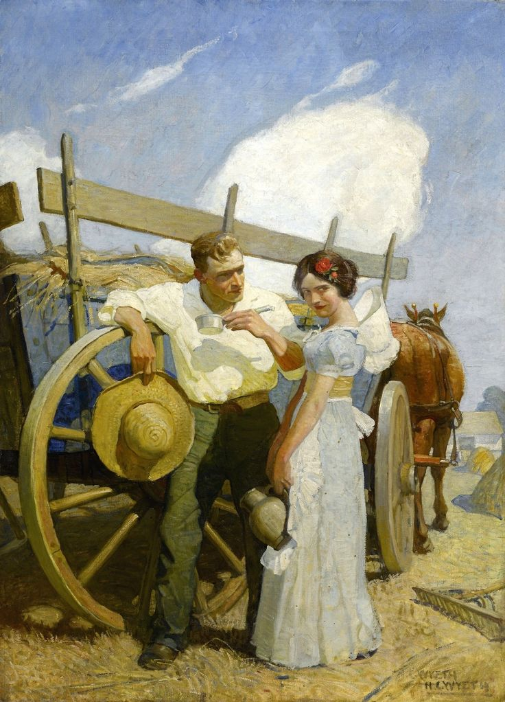 N.C. WYETH Couple and Wagon Oil on Canvas 44″ x 32″