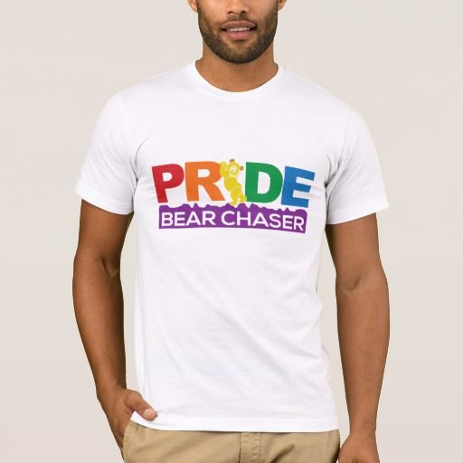 """New Canadian #GayPride T-Shirt For The #BearNation Design.  Wear a one of a kind #BearWear shirt for #VancouverPride this summer.  This #LGBT shirt design has PRIDE Bear Chaser on the front with a Chubby Bear as the I. On the back is a canadian flag with the Chubby Cub posing alongside the maple leaf, and the catch phrase """"It's A Bear Meat Thing!"""" below.  Woof!"""