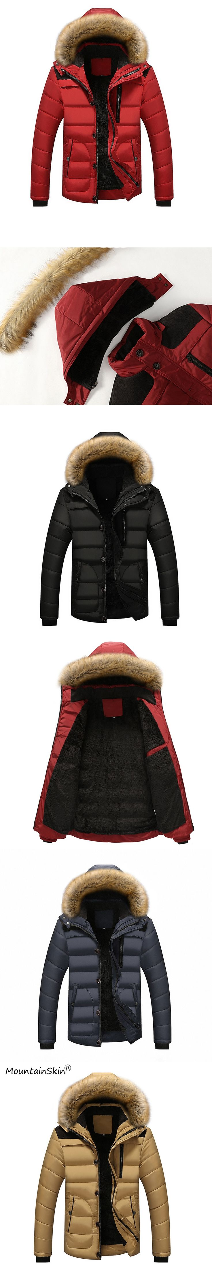 Mountainskin 5XL Men Winter Parkas Casual Fur Hooded Jackets Warm Fleece Parkas Male Fashion Thick Coats Brand Outerwears LA597