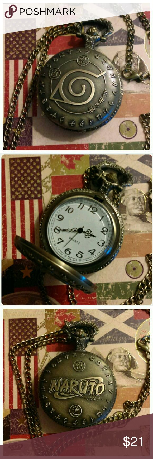 Naruto Anime pocket watch Gorgeous Naruto Anime antiqued brass finish pocketwatch. I love this design! Comes in black velvet pouch with spare battery. Free silver heart earrings! Accessories Watches