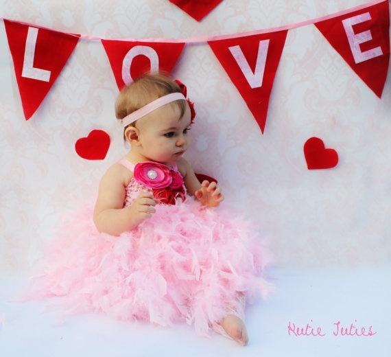 The Valentine's Feather Tutu Dress Infant Newborn by KutieTuties infant, toddler, 1st birthday, birthday, newborn, baby, girl red pink hot pink