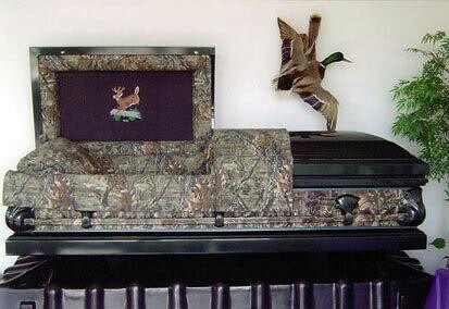 Camouflage Casket Coffin Duck Hunting Funeral
