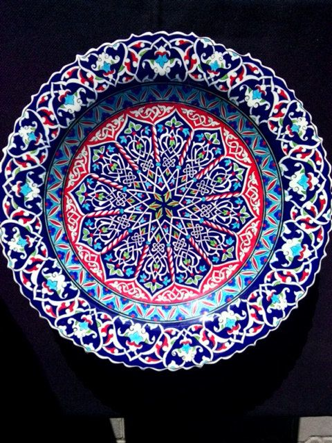 16th Century  Turkish Ceramic Hand Made 40 cm 16 inches  Original Reproduction Traditional  Iznik Ottoman Designed Plate