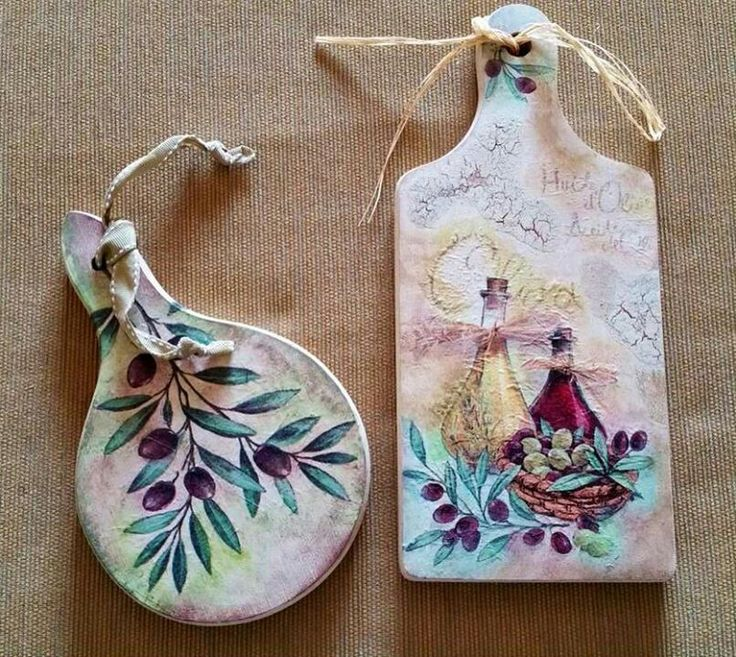 decoupage on mini chopping boards