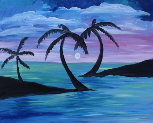 Palm Tree Love at Mt.Lebanon Pub and Pizza Paint Nite Pittsburgh 05/20/2015