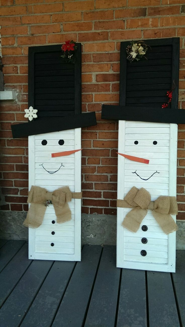 My shutter snowmen with palette brim and burlap ties ...