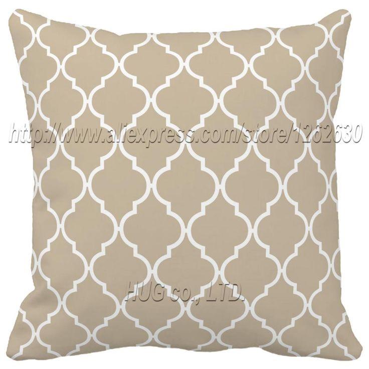 Beige et blanc coralqualité quadrilobe oreiller. deux côtés d'impression motif géométrique décoratifs. créatives. décorer oreiller oreiller