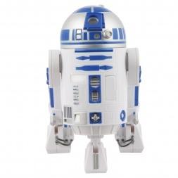 El simpático droide astromecánico de Star Wars, R2D2, el mismo robot que arreglaba las situaciones difíciles en la saga, te ayudará a arreglar tu economía gracias a su hucha. Cada vez que introduzcas una moneda por la parte superior de su cabeza, R2D2 reproducirá su famoso, su mítico, su inconfundible sonido. Sentirás la fuerza del ahorro.