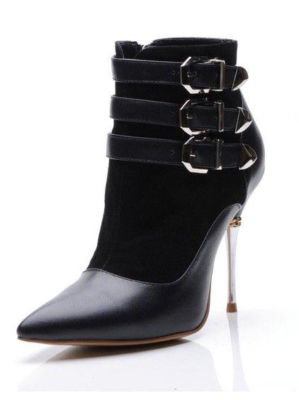 Frauen Schaffell Geschlossene Zehe Stöckel Absatz mit Schnalle Ankle Stiefel