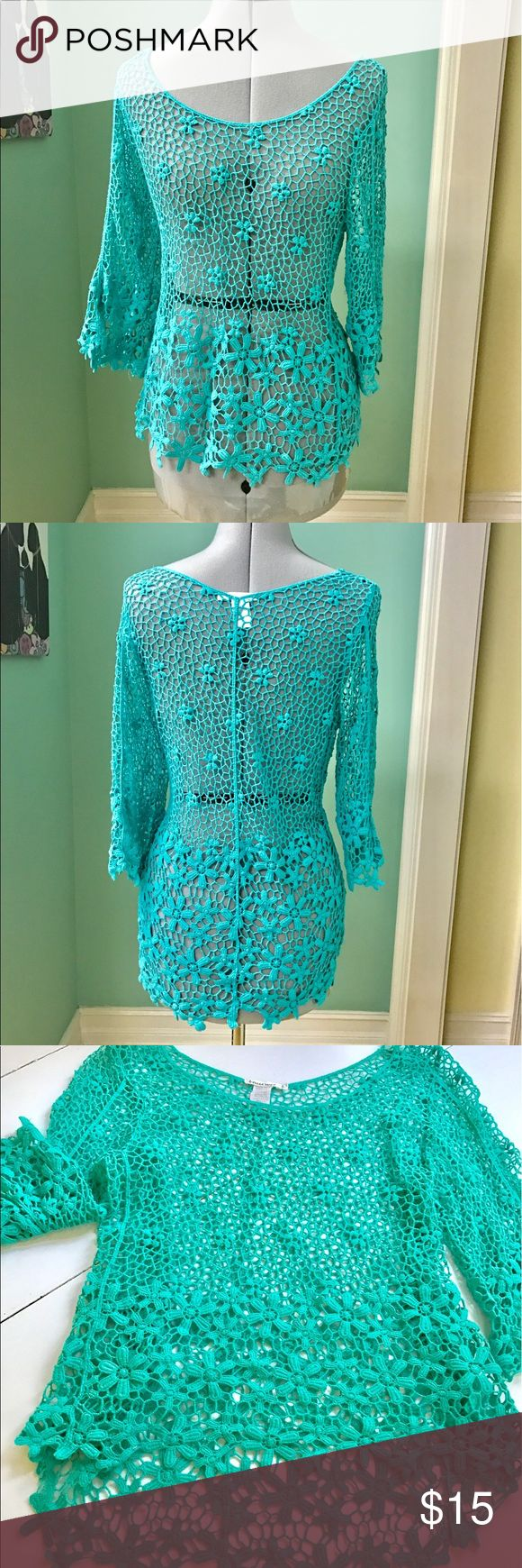 Mint green lacy  top Beautiful mint  green flower crocheted top. Must be worn over a camisole. breeze over Tops