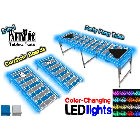 2-in-1 Cornhole Boards & Beer Pong Table w/ Color-Changing LED Glow Lights - Detroit Football Field, Silver