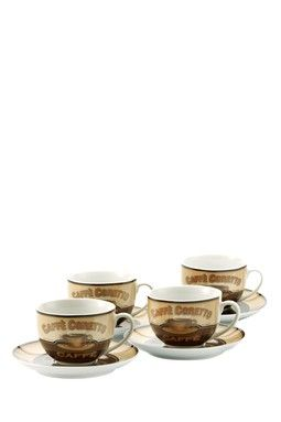 HauteLook | Remy Olivier Think Kitchen: Cafe Corretto Cappuccino Cup and Saucers - Set of 4