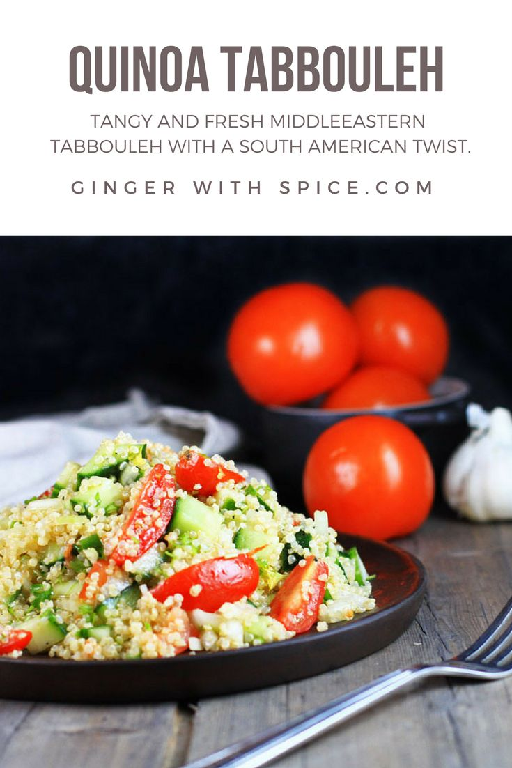 Tabbouleh is a fresh Middle Eastern side dish, with flavors of mint, lemon and garlic; the quinoa fills you up and nurtures well and the cucumber and tomatoes elevates it to a fresh salad. Click for the recipe!