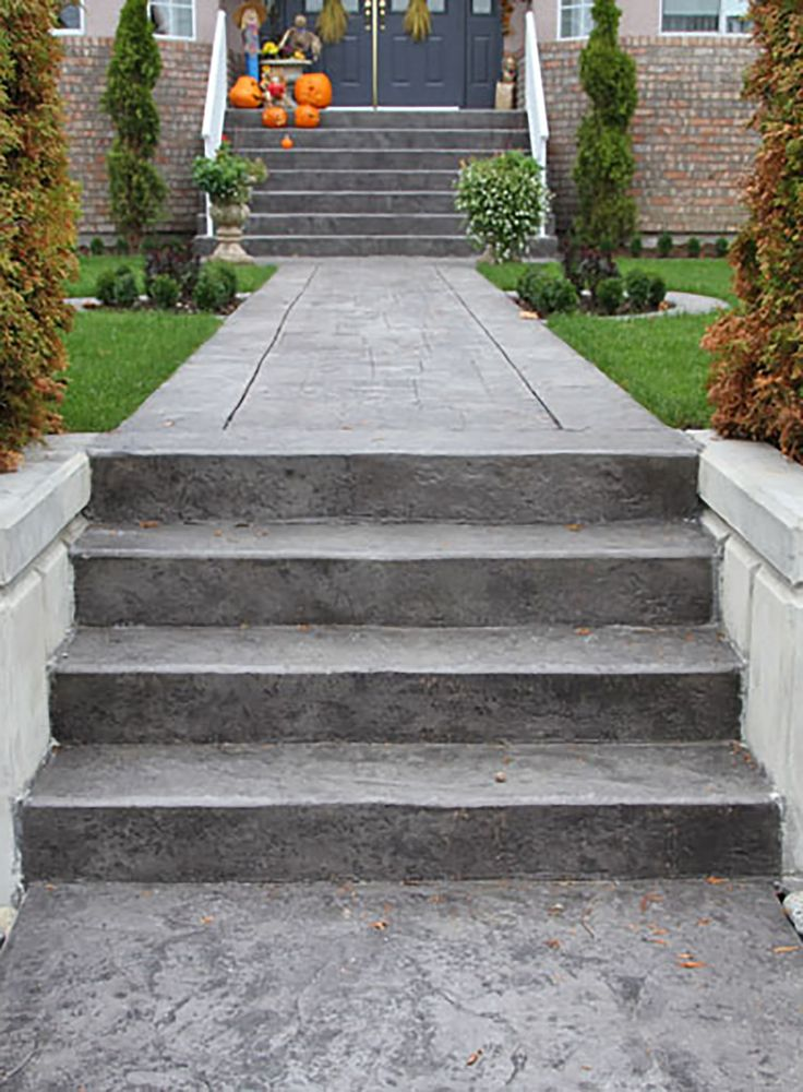 Best Stamped Concrete Stairs Front Door Steps Concrete 400 x 300