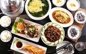 Обои блюда, ассорти, рис, овощи, японская кухня, суп