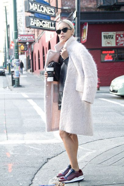 Coat: the haute pursuit fuzzy winter burgundy sneakers pastel leather shorts