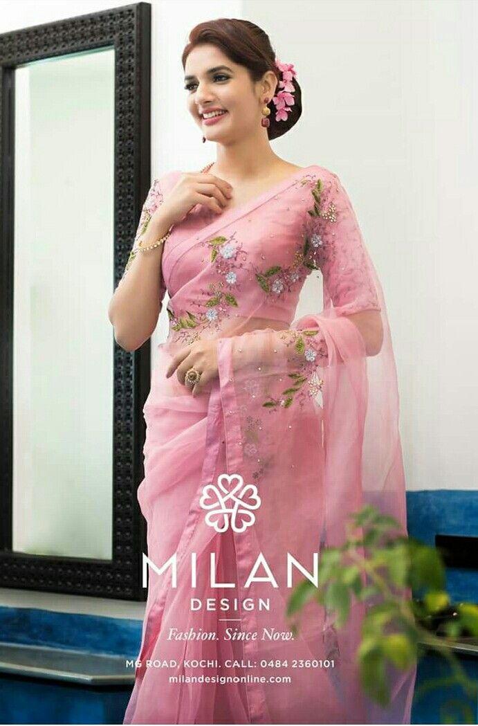 Details about  /sari saree indian designer wear silk wedding bollywood blouse party Rich pallu