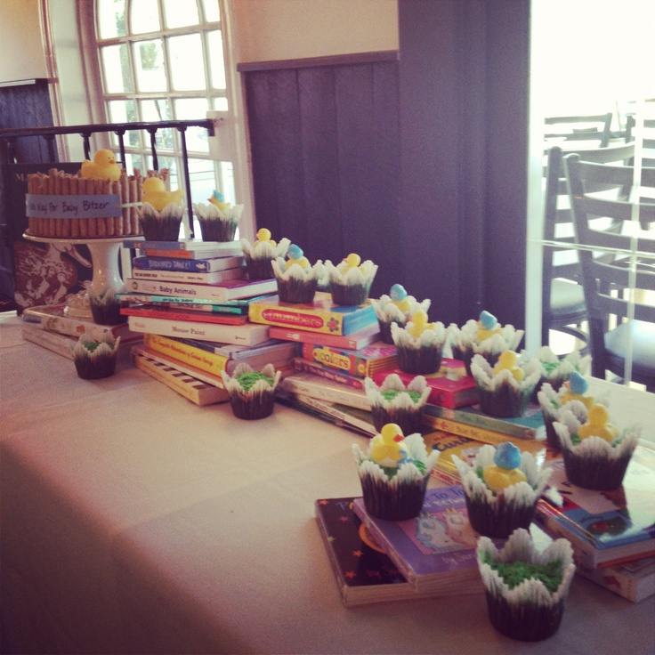 Library Book Theme Baby Shower Cake Table. Make Way For