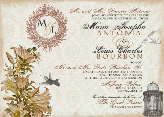 Vintage Wedding Invitation (Whimsical French Baroque - Marie Antoinette Inspired) by anista designs