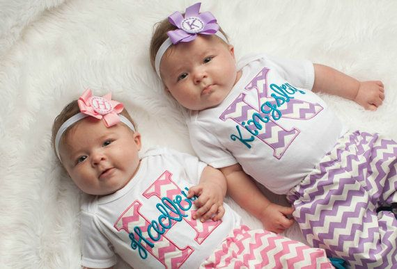 Baby Girl Clothes Twin Girls Take Home Outfit  Chevron Monogram Baby Outfit  Personalized Baby Girl Twins Outfits on Etsy, $86.00