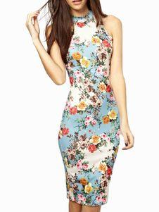 Vestido bodycon sin mangas con estampado floral