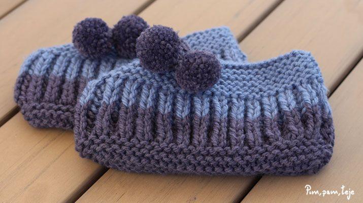 Teje unas pantuflas de punto inglés a dos agujas. Un proyecto sencillo para tejer en un rato. Patrón y DIY