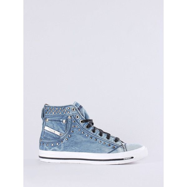 Diesel EXPOSURE IV W Sneakers ($75) ❤ liked on Polyvore featuring shoes, sneakers, blue jeans, women, diesel trainers, summer footwear, blue high top shoes, blue high tops and high top trainers