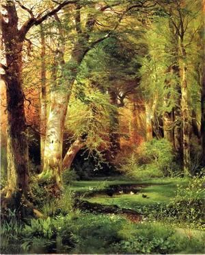 Forest Scene  Thomas Moran