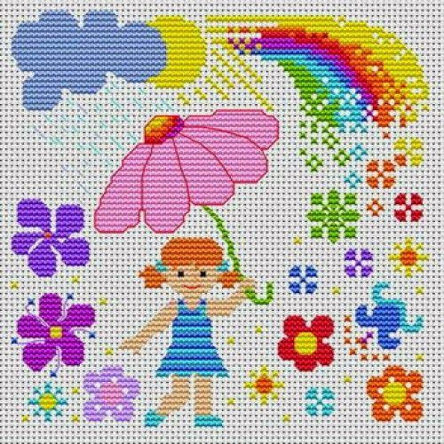 Πολύ όμορφα σχέδια για σταυροβελονιά με αρκουδάκια μέσα σε ομπρέλες ή που κρατάνε ομπρέλες, πουλάκια με ομπρέλες, παιδιά που κρατάνε ομπρ...