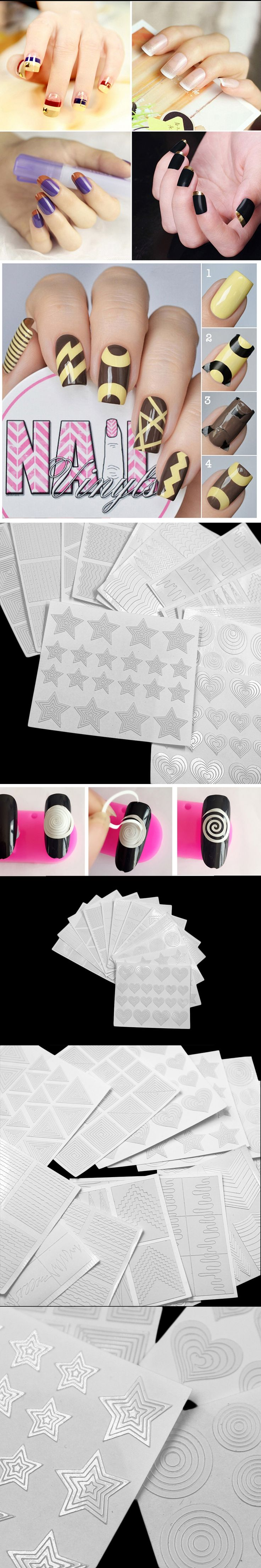12pcs Nail Art Sticker Guide Hollow Tips Acrylic Crystal French Template 3D Stencil Line Decals Form Styling Manicure Tool