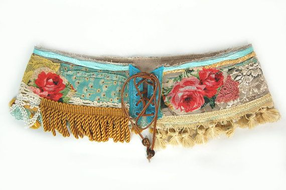 Hip Belt Created from Recycled Materials- Corset Belt,  Belly Dance Belt, Indie Clothing, Upcycled Clothing, Earth Friendly